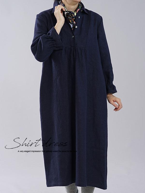 カッタウェイ シャツ フロントギャザー ドレス シャツワンピース スキッパー linen100% / ネイビー【M】a031c-neb3