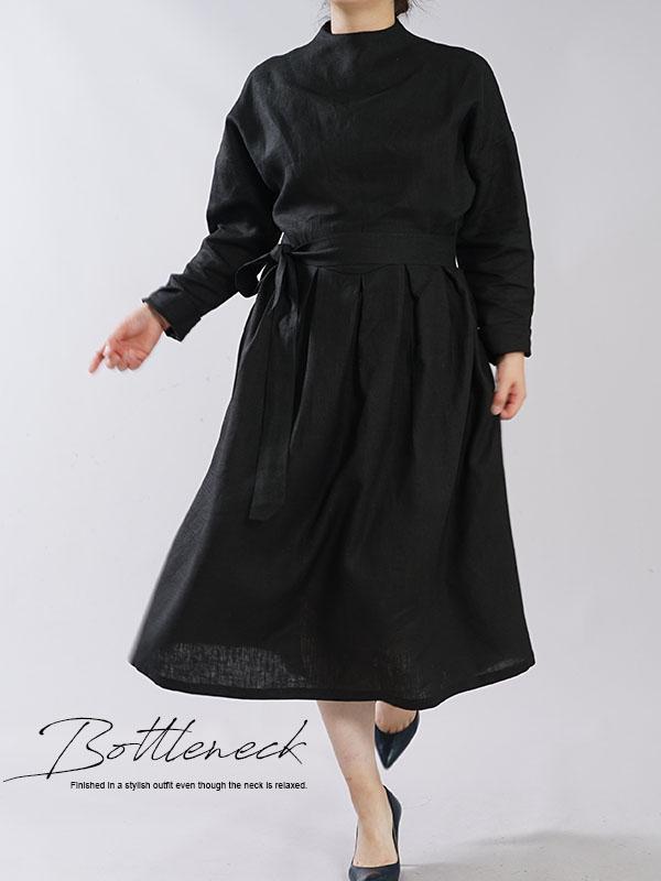 中厚 リネンワンピース レイズド ネックライン ドロップショルダー 長袖 タック ドレス 紐付き / ブラック