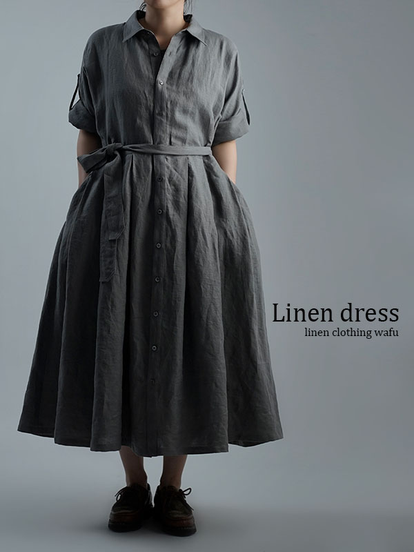 Linen Dress 2wey ワンピース アウターにも / 鈍色(にびいろ) a064a-nib1
