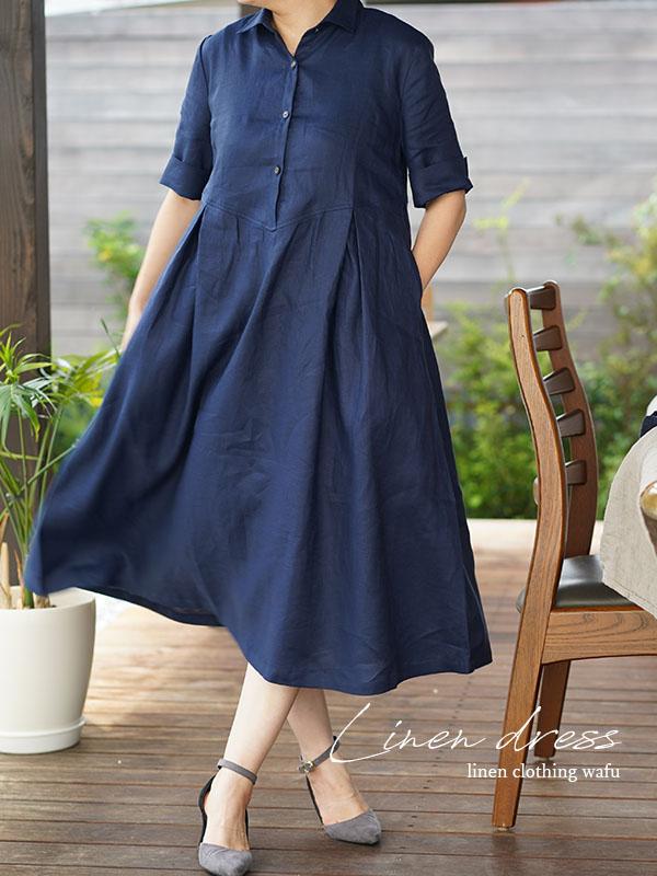 薄地 リネンワンピース ホリゾンタルカラー シャツ ドレス 5分袖 タックスカート スリット袖 / オリエンタルブルー