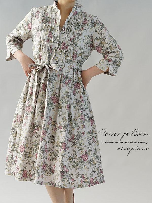 リバティ フランダース リネン ワンピース セリーヌ スタンドカラー 波ピンタック ドレス