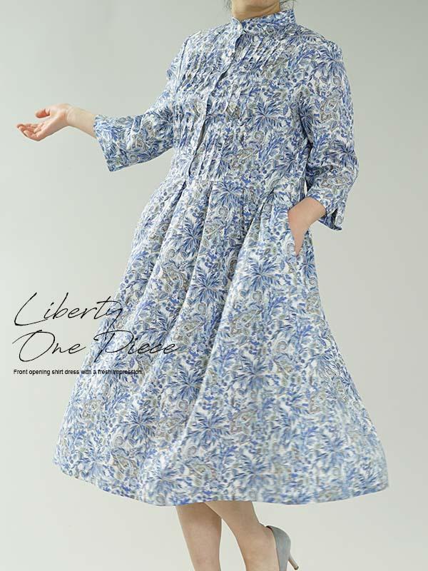 在庫限りで再販不可です。リバティ フランダース リネン ワンピース Far Away Paisley スタンドカラー 波ピンタック ドレス