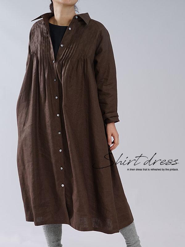 【wafu】中厚 リネンワンピース 2way ピンタック ドレス 羽織にも シャツ襟 ラグランスリーブ 長袖 / アドーブブラウン