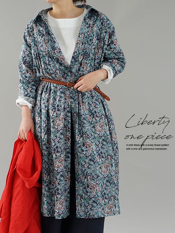在庫限りで再販不可です。リバティ フランダース リネン ワンピース 羽織にも ピンタックドレス