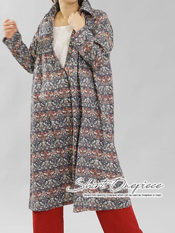 在庫限りで再販不可です。 リバティ フランダース リネン ワンピース 羽織にも ピンタックドレス / ストロベリー・スィーフ
