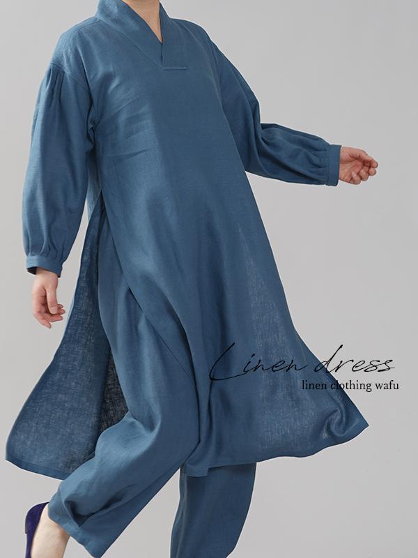 中厚 リネン古来 ワンピース 着物襟 ランタンスリーブ ドレス ランタンスリーブ リネンドレス ブルーパッセ M-L a084h-bps2