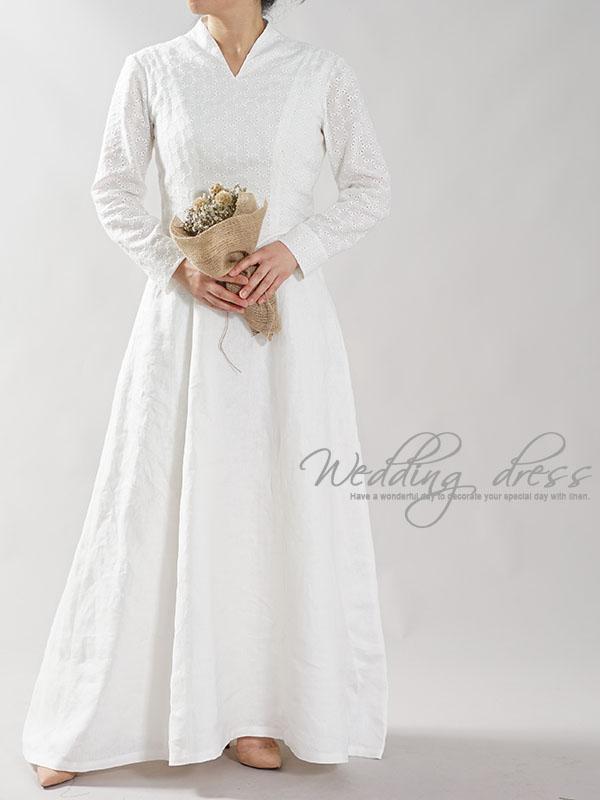 リネン100% ウエディングドレス リネンドレス ローブ・モンタント 結婚式 ブライダル レース パニエ付き / ホワイト