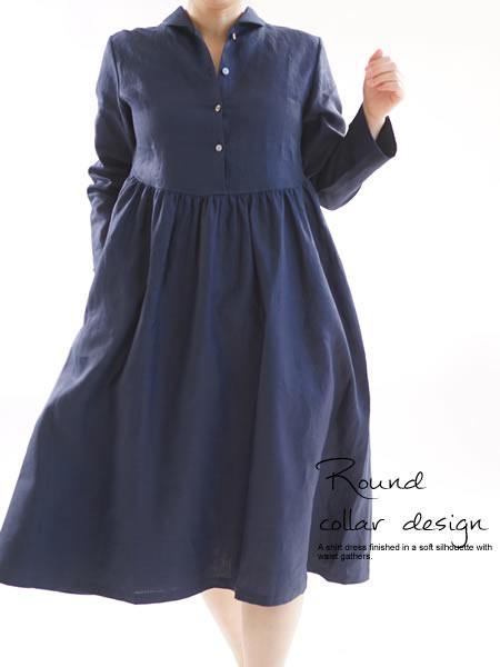 リネンワンピース ショールカラードレス ミモレ丈 丸襟 スキッパー 前ボタン /ネイビー