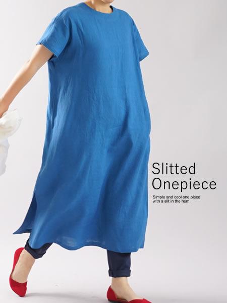 雅亜麻 リネンワンピース フレンチスリーブ 襟ぐり小さめ 膝下丈 / 薄藍 (うすあい)