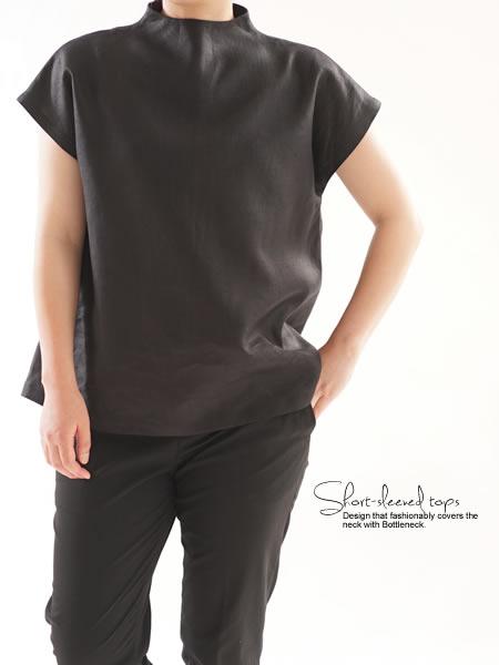 レイズド・ネックラインの リネン ブラウス リネンフレンチスリーブ トップス Tシャツ /ブラック