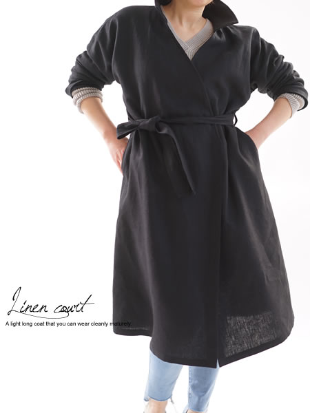 暖リネンドロップショルダー 襟付きコート紐付き/ブラック