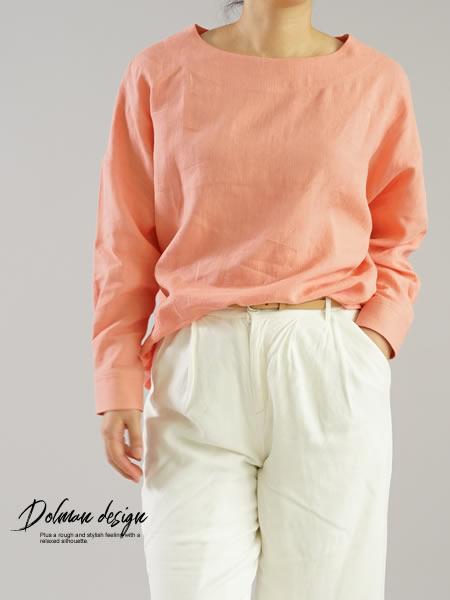 リトアニアリネン カフスシャツ袖のドロップショルダー トップス/ヴェスタ