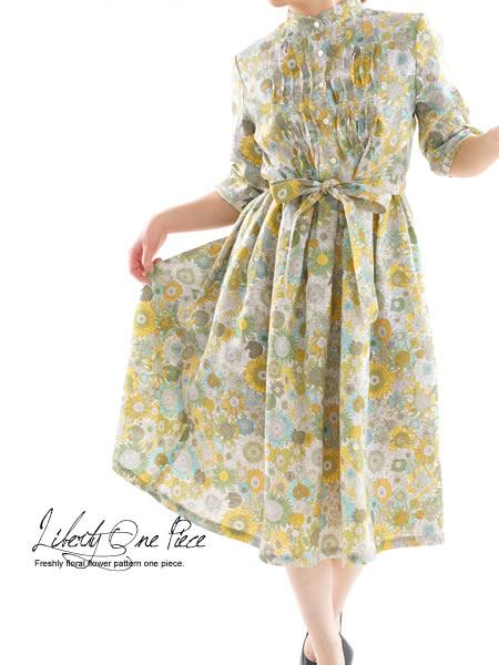 リバティ Small Susanna フランダース リネンワンピース 波ピンタック スタンドカラードレス・紐付き /スモール・スザンナ