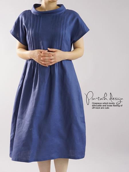 リネンワンピース ピンタック オフネックドレス シルクオーガンジー/ブルーマリーヌ