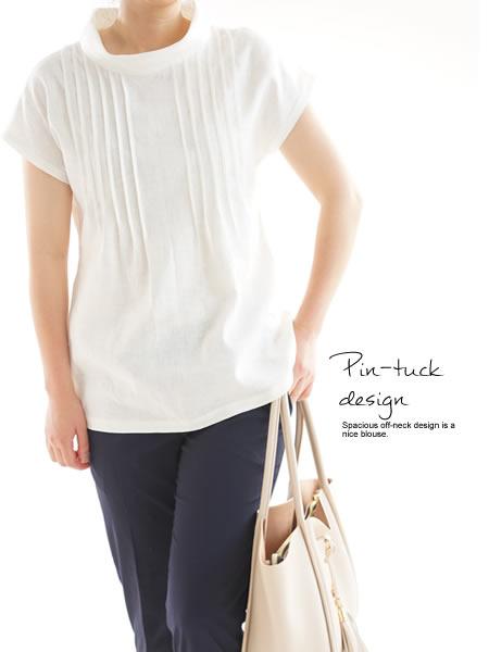 リネンチュニック ブラウス ピンタック オフネック Tシャツ シルクオーガンジー / ホワイト