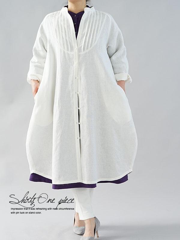 中厚 リネンワンピース 2wey ピンタック コクーンドレス スタンドカラー ラグランスリーブ / ホワイト