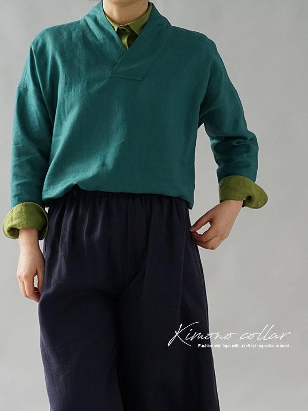中厚 リネントップス 禅 着物襟 ドルマンスリーブ リネン100% 九分袖 ブラウス チュニック  / エンパイアグリーン