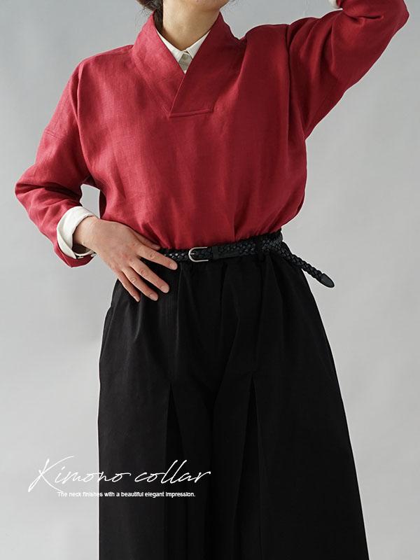 中厚 リネントップス 禅 着物襟 ドルマンスリーブ リネン100% 九分袖 リネン ブラウス チュニック  / ルビーレッド
