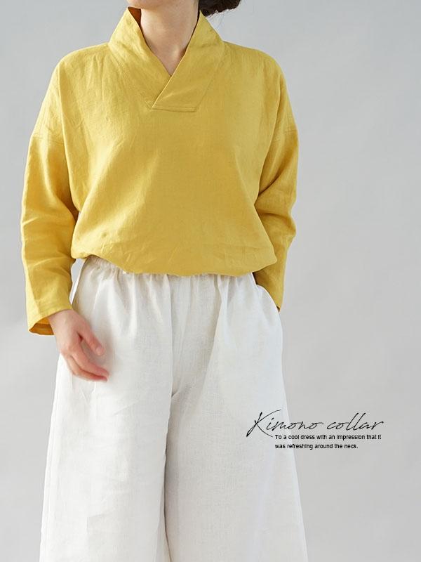 中厚 リネントップス 禅 着物襟 ドルマンスリーブ リネン100% 九分袖 リネン ブラウス チュニック / クロムイエロー
