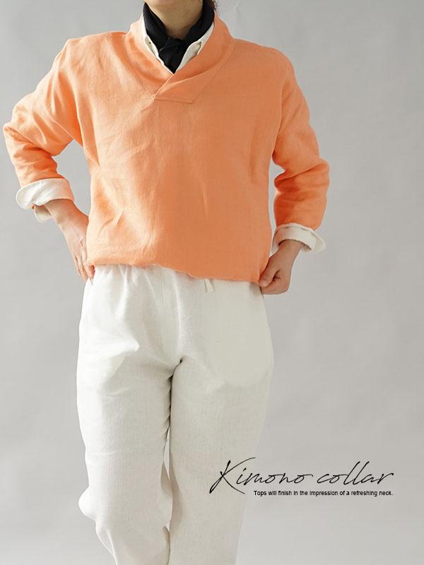 中厚 リネントップス 禅 着物襟 ドルマンスリーブ リネン100% 九分袖 ブラウス チュニック / カピュシーヌ