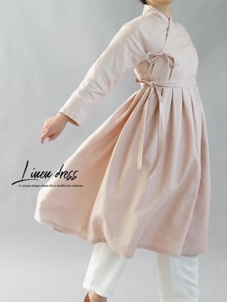 リネンワンピース 禅 ラグランスリーブ 着物 襟 長袖 リネン100% ドレス / ミスティーローズ