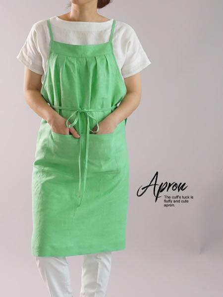 リネンエプロン 4ポケット タック カフェ サロン エプロン / カウンティ アーマー