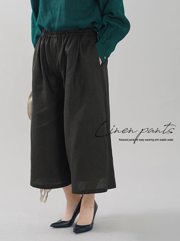 中厚 リネンワイドパンツ スカーチョ キュロットパンツ ボトムス ワイドパンツ / ブラック【M-L】b002a-bck2