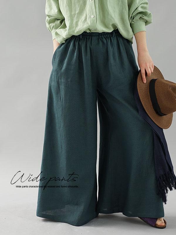 薄地 雅亜麻 リネン パンツ 究極の ワイドパンツ キュロット / 高麗納戸(こうらいなんど)