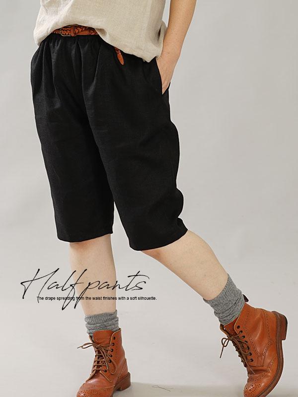 中厚 リネンパンツ ショートパンツ ハーフパンツ ポケット有り ウエストゴム ボトムス 膝丈 / ブラック