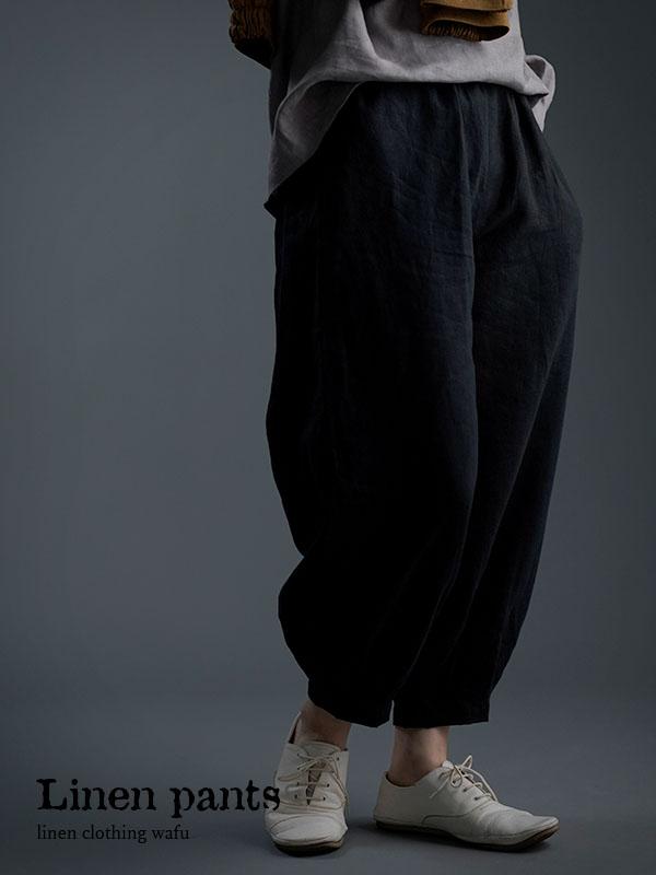 やや薄地 柔らかい リネン パンツ 裾タック ボトムス/黒色 b013a-bck1