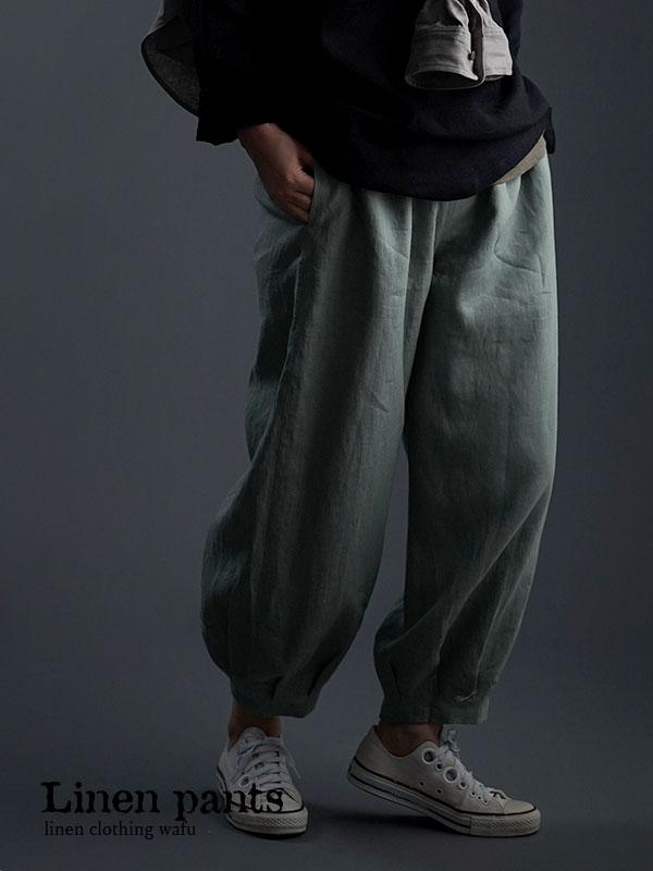 やや薄地 柔らかい リネン パンツ 裾タック ボトムス/青磁鼠 b013a-snz1