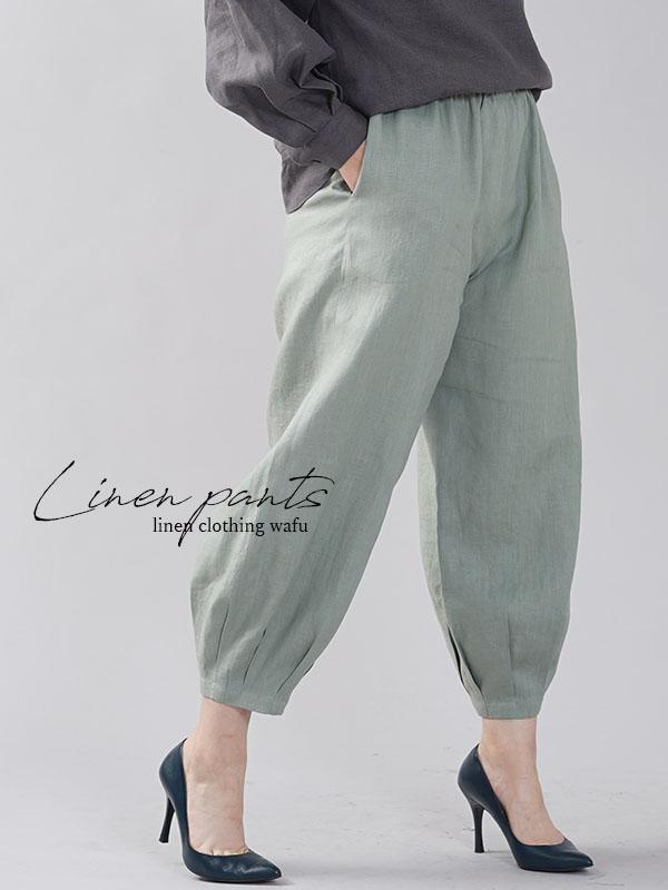 やや薄地 リネン パンツ 裾タック リネンボトムス ヨガパンツにも 4番手 青磁鼠 せいじねず M-L b013a-snz1