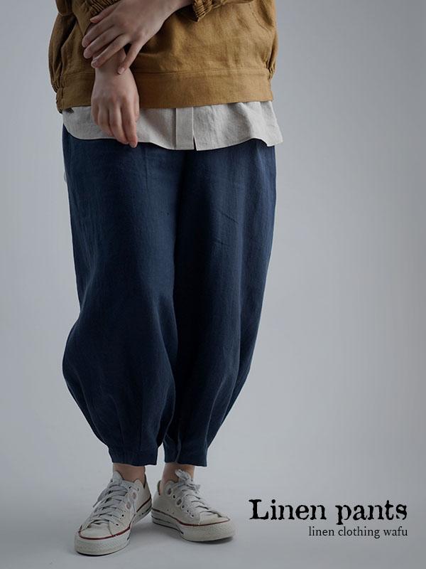 やや薄地 柔らかい リネン パンツ 裾タック ボトムス/留紺 b013a-tmk1