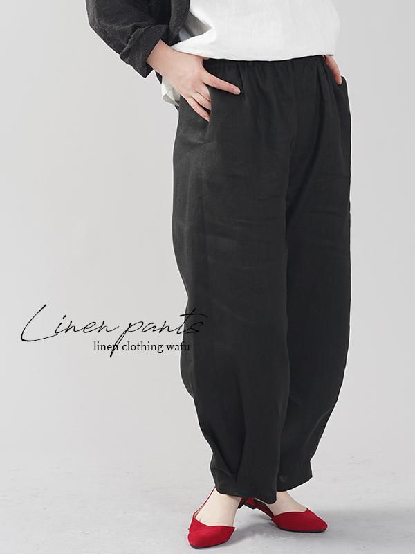 中厚地 リネン ボールパンツ ボトムス サイドタック 裾タック ゆったり リラックスパンツ /ブラック【free】b013g-bck2