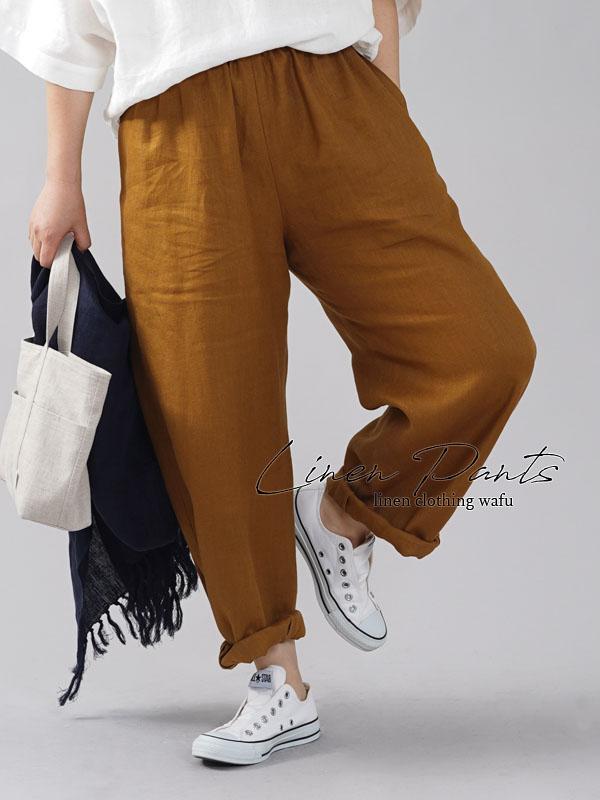 【wafu】リネン ボールパンツ wafu史上最高の上質リネン ボトムス サイドタック 裾タック ゆったり/デリーブラス【free】b013i-drs1