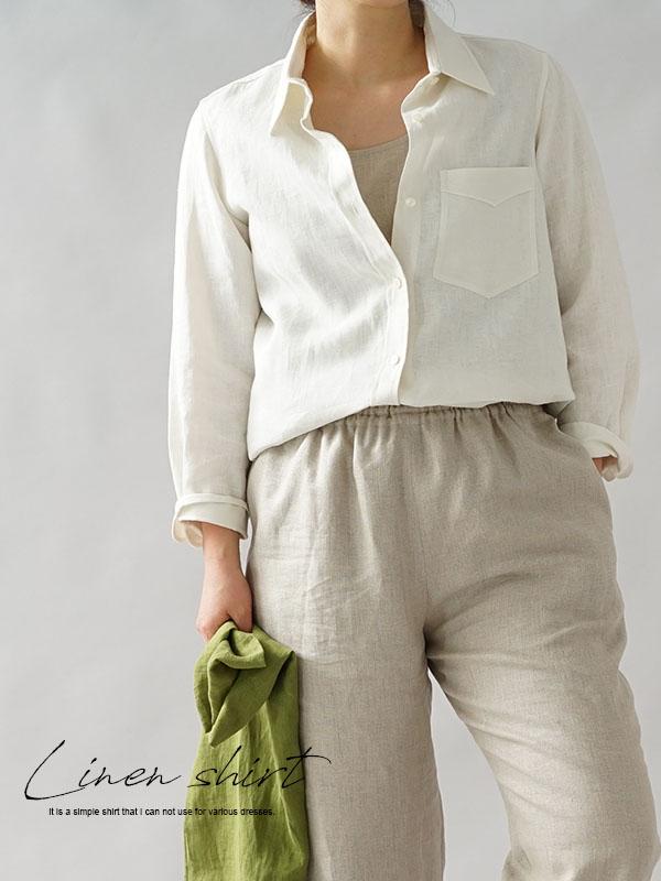 中厚 リネン 本格 premium シャツ 長袖シャツ プレミアムシャツ シンプル 白シャツ / ホワイト