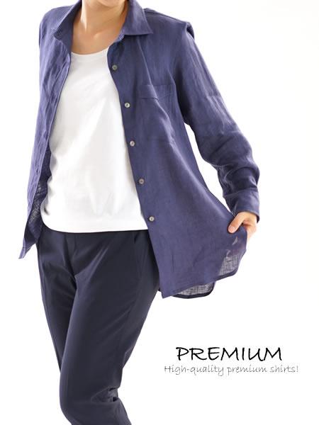 リトアニアリネン 本格 premium シャツ/ネイビー系