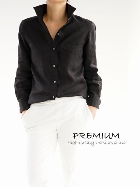 リトアニアリネン 本格 premium ホリゾンタルカラーシャツ/ブラック