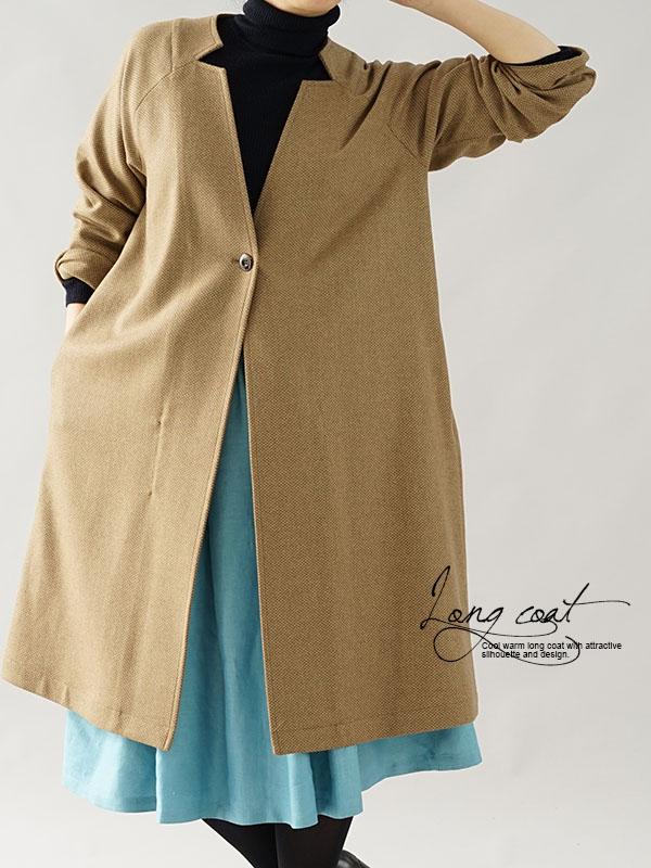 国産 ウール70% アルカパ30% オートミール コート ラグラン ロングコート / 濃淡オーカー