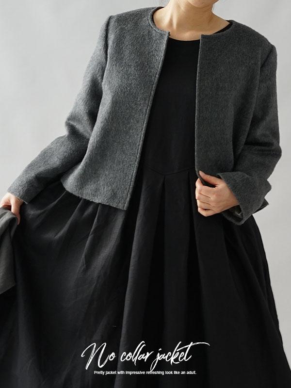 ウール100% ジャケット 総裏付き woolラウンドネック ボレロジャケット / グレー