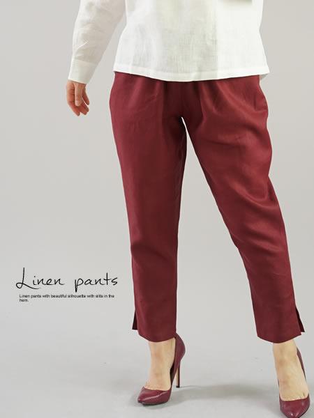 中厚 リネン パンツ 裾スリット ジョッパーズ ウエストゴム ベルトループ ポケット付き / アガット【M-L】b001e-agt2