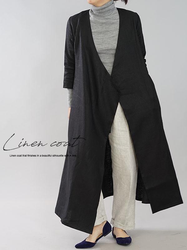 中厚 リネン ワンピース コート 2way カシュクール ボタン ロング丈 7分袖 ガウン / ブラック