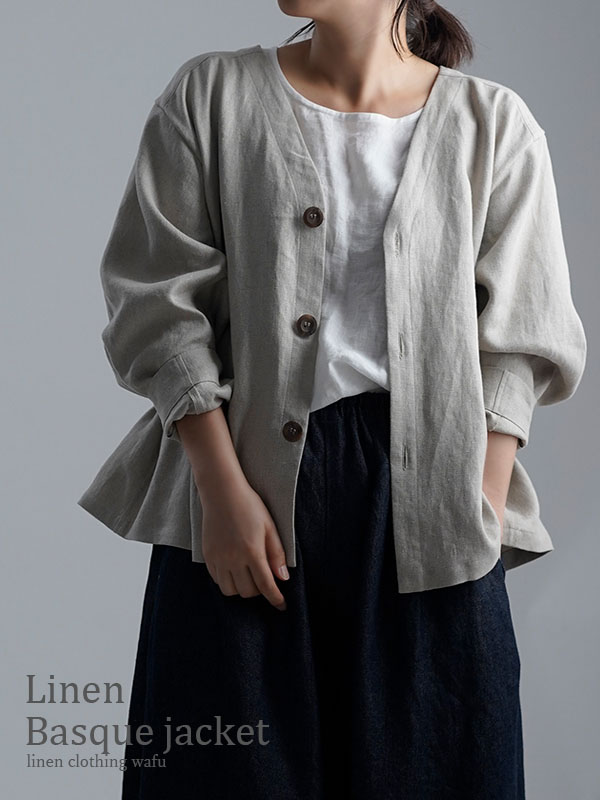 【wafu】Linen Basque jacket プレミアムリネン100% バスク・ジャケット / フラックス h005e-flx2
