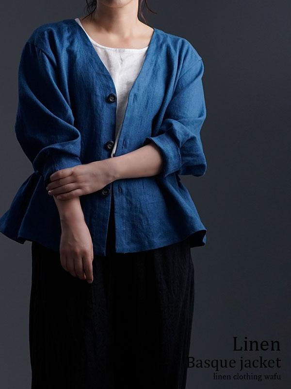 【wafu】Linen Basque jacket プレミアムリネン100% バスク・ジャケット / オーシャン h005e-ocn2