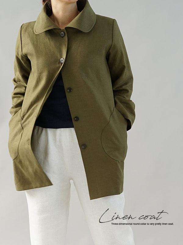 中厚 リネン コート ジャケット 雅亜麻 リネン 裏地付き バスターブラウンカラー コート / オリーブ×黄橡色