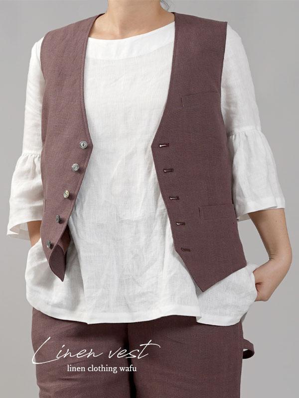 【wafu】リネンベスト 総裏地仕様 リネン100% スーツスタイルにも 裏地もリネン/小豆色(あずきいろ)【M-L】h012a-azk2
