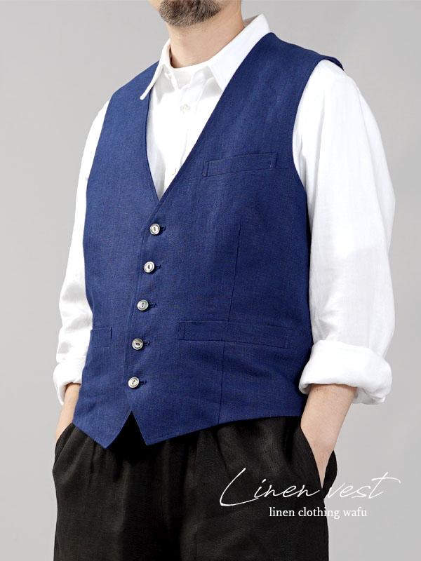 【wafu】リネンベスト 総裏地仕様 スーツスタイルにも メンズ ユニセックス/紺桔梗(こんききょう)【M-L】h012a-kkk2-m