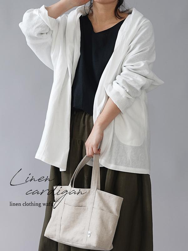 【wafu】中厚 リネン 羽織 トッパーカーディガン ショールカラー ローブ linen100%/ホワイトh014a-wht2
