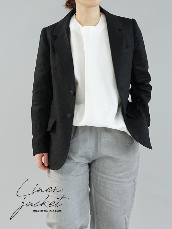中厚 リネン テーラード ジャケット 総裏仕様 裏地リネン100% 羽織 メンズ / ブラック