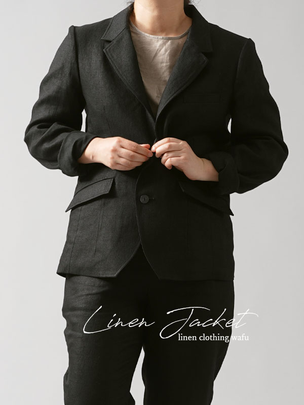 【wafu premium linen】リネン100% テーラードジャケット 総裏地リネン/ランプブラック【M】h018g-lbk2